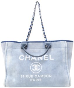 Chanel Deauville Canvas Tote in Blue