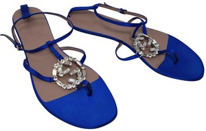 Gucci Crystal Gg Guccissima Ankle Strap Silver Hardware Blue Sandals