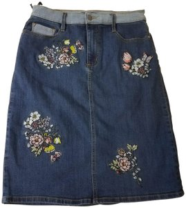Buffalo David Bitton Stitched Floral Denim Classic Skirt Blue