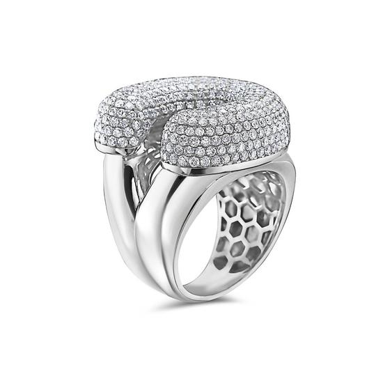 OMI Jewelry Men's 14K White Gold 'C' Ring with 4.85 CT Diamonds Image 1