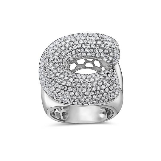 OMI Jewelry Men's 14K White Gold 'C' Ring with 4.85 CT Diamonds Image 2