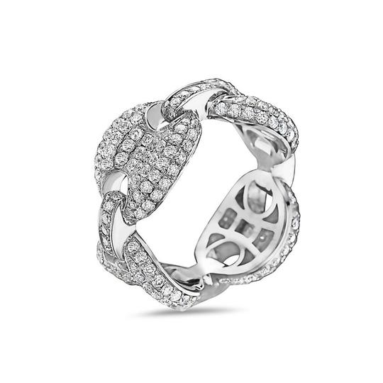 OMI Jewelry Men's 14K White Gold Chain Ring with 3.54 CT Diamonds Image 2