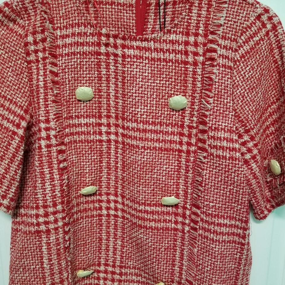 15cb6811 Zara Red 2 Piece Sets Tweed Top And Shorts Suit Size 12 (L) - Tradesy