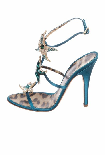 Roberto Cavalli Embellished Beaded Formal Satin Crystal Teal Sandals Image 1