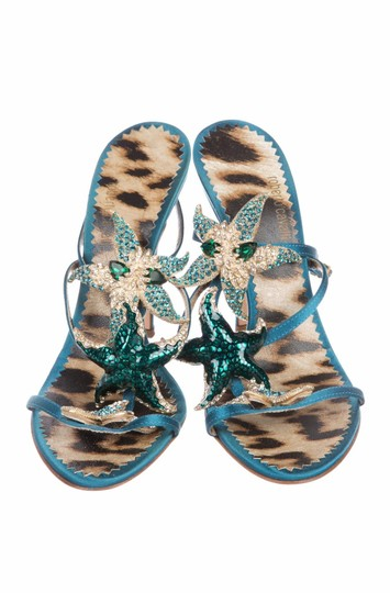 Roberto Cavalli Embellished Beaded Formal Satin Crystal Teal Sandals Image 2