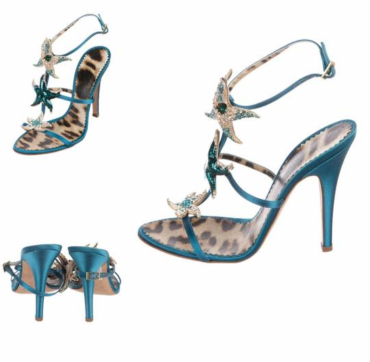 Roberto Cavalli Embellished Beaded Formal Satin Crystal Teal Sandals Image 4