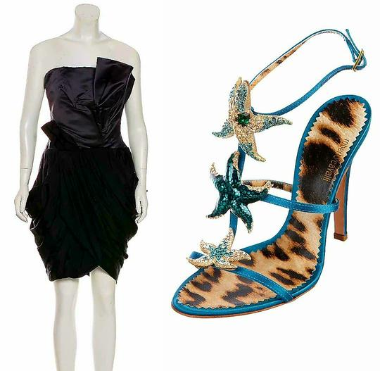 Roberto Cavalli Embellished Beaded Formal Satin Crystal Teal Sandals Image 9