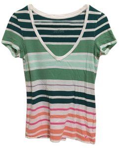 American Eagle Outfitters T Shirt Multi Colored Striped