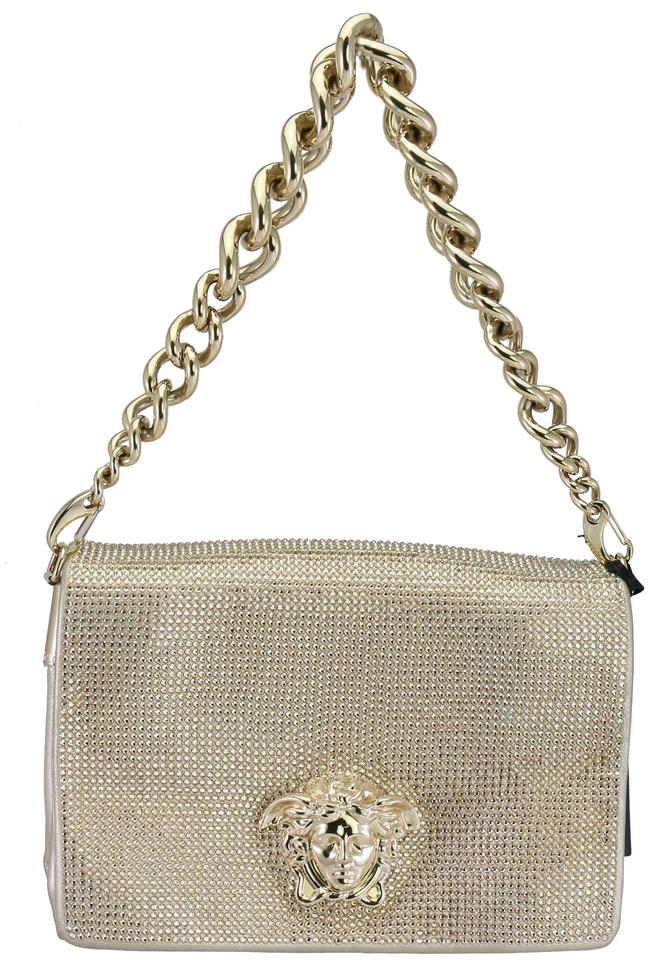 4a41ff0c590a Versace Crystal Embellished Medusa Evening Sultan Gold Leather Shoulder Bag