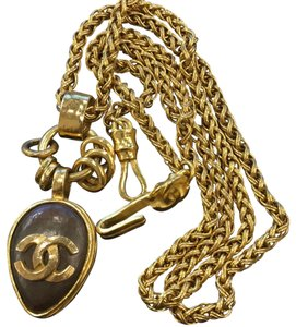 Chanel Chanel vintage cc logo chocolate color pendant chain necklace 6765