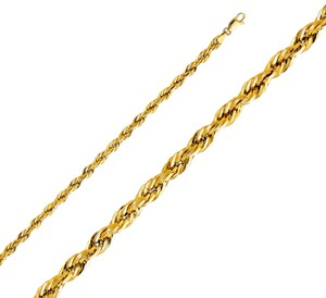 Top Gold & Diamond Jewelry 14k Yellow Gold 4 mm Silky Hollow Rope Diamond Cut Chain - 22