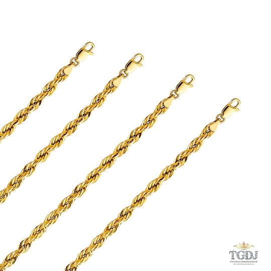 Top Gold & Diamond Jewelry 14k Yellow Gold 4 mm Silky Hollow Rope Diamond Cut Chain - 24
