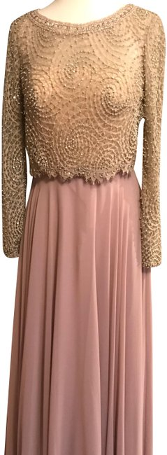 Item - Taupe J45598 Nude Long Formal Dress Size 6 (S)