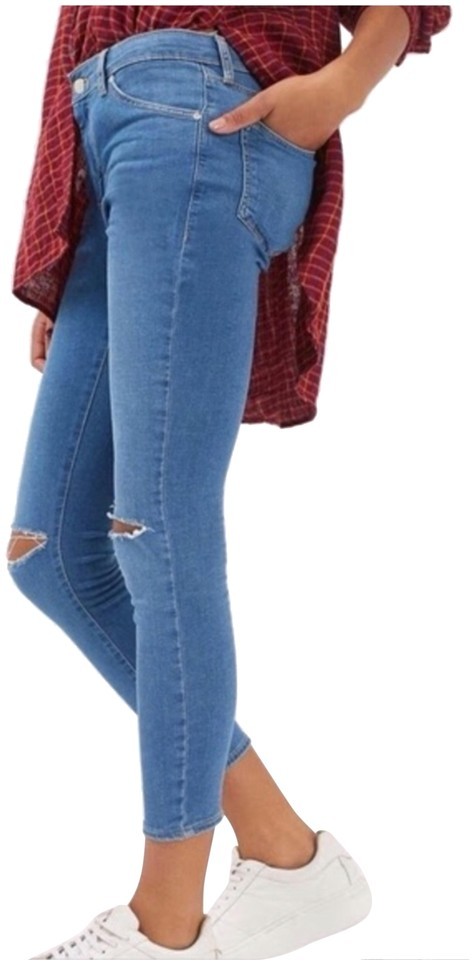 f4de150980b Topshop Medium Wash Ripped Knee Slits Leigh Skinny Jeans Size 6 (S ...