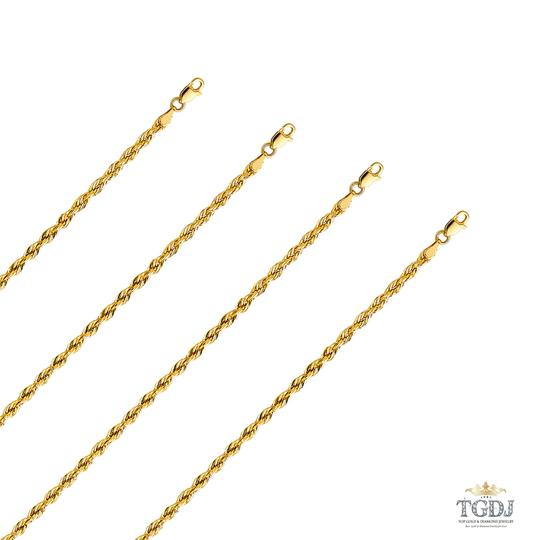 Top Gold & Diamond Jewelry 14k Yellow Gold 3 mm Silky Hollow Rope Diamond Cut Chain - 20