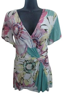 Anthropologie Floral Wrap Spring Summer Casual Top Multicolored
