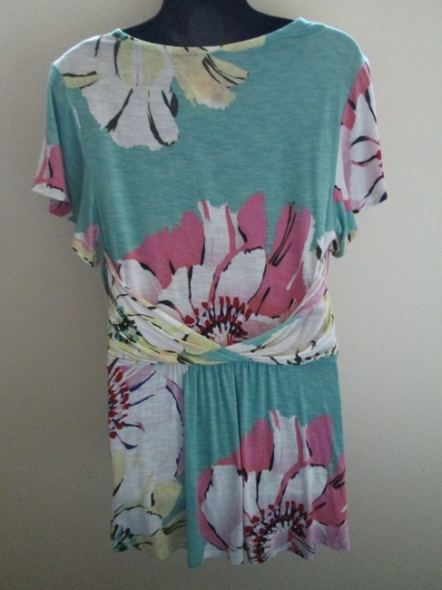 Anthropologie Floral Wrap Spring Summer Casual Top Multicolored Image 2