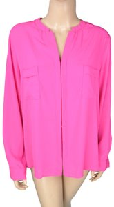 Ro & De Long Sleeve Button Blouse Shirt Button Down Shirt Pink