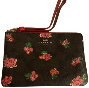 Coach Coach Mahogany Brown with Roses wristlet
