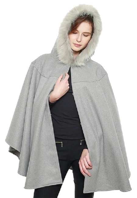 Preload https://img-static.tradesy.com/item/24288918/gray-new-faux-hooded-cape-shawl-w-closure-coat-size-os-one-size-0-3-650-650.jpg