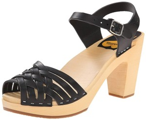 swedish hasbeens Leather Wood Made Black Sandals