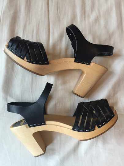 swedish hasbeens Leather Wood Made Black Sandals Image 1