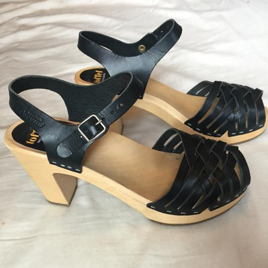 swedish hasbeens Leather Wood Made Black Sandals Image 4