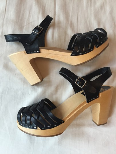 swedish hasbeens Leather Wood Made Black Sandals Image 5