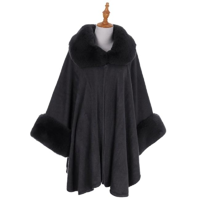 Preload https://img-static.tradesy.com/item/24288962/dark-gray-new-faux-trimmed-cape-shawl-coat-size-os-one-size-0-0-650-650.jpg