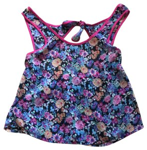 Wet Seal Top pink with blue multicolor flowers