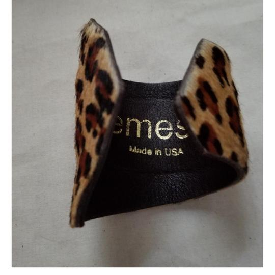 kemistry Leopard fur and leather cuff Image 1