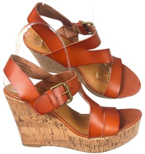 Mossimo Supply Co. Cork Wedge Leather Buckle Cognac Sandals