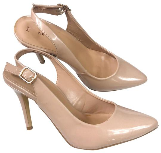 New Look Pointed Toe Patent Leather Blush Pumps Image 0