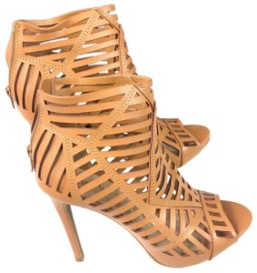 Anne Michelle Cut-out Back Zip Tan Sandals
