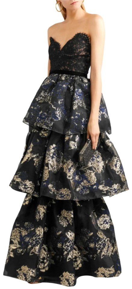 Marchesa Notte Black Blue Gold Tiered Lace Formal Dress Size 6 S 60 Off Retail