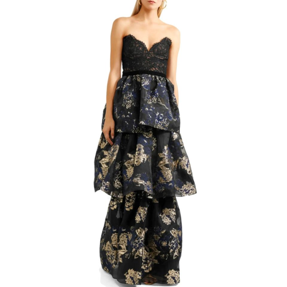 ac5b46fc785a9 Marchesa Notte Black / Blue / Gold Tiered Lace Formal Dress Size 6 (S) -  Tradesy