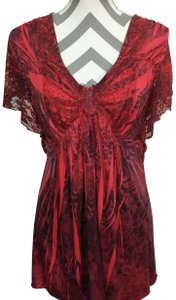 One World Lace Top Red Black