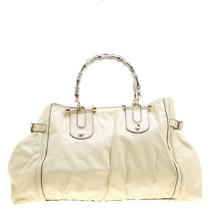 Gucci Carry-it-all Leather Bamboo Tote in Cream