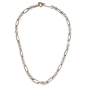 David Yurman David Yurman Small Two-Tone Figaro Chain Necklace