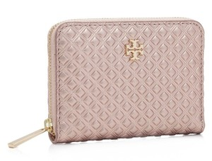 Tory Burch NEW TORY BURCH ROSE GOLD METALLIC COIN CASE BAG QUILTED LEATHER NWT