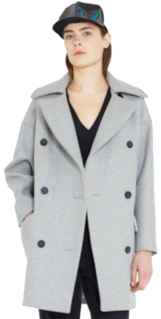 Item - Gray Double Breast Oversized Wool Coat Size 4 (S)