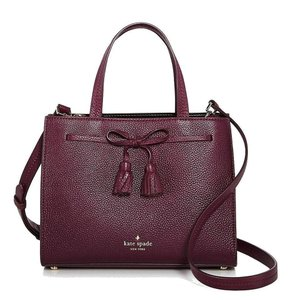 Kate Spade Pebbled Leather Protective Feet Handle Leather Small Isobel Satchel in Purple