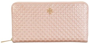 Tory Burch Tory Burch NEW Rose Gold Quilted Leather Zip Around Wallet BAG NWT