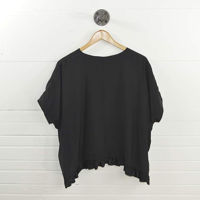 Clover Canyon Silk Ruffle Fall Winter Holiday Top BLACK Image 2