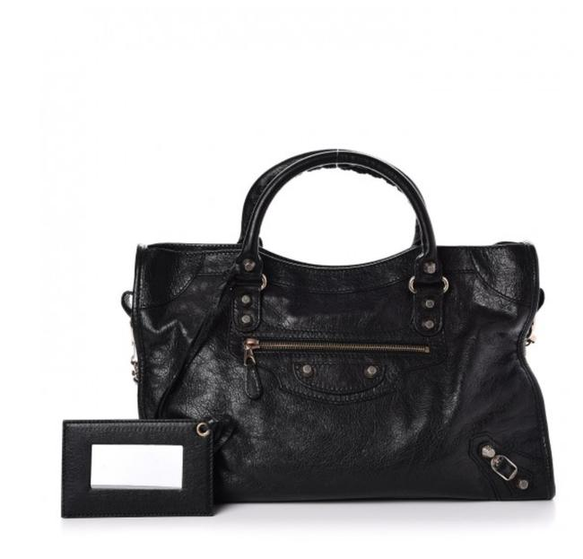 Item - Limited Edition Giant 12 City Purse Black Rose Gold Lambskin Leather Satchel