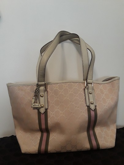 Preload https://img-static.tradesy.com/item/24290366/gucci-logo-132396467891-pink-and-white-canvas-tote-0-0-540-540.jpg
