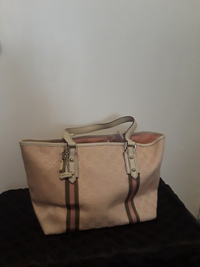 Gucci Monogram Damier Canvas Signature Tote in Pink and White