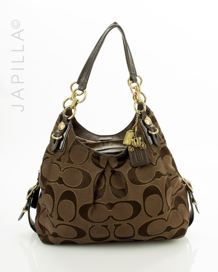 Preload https://img-static.tradesy.com/item/24290442/coach-maggie-optic-outline-shoulder-purse-brown-canvas-satchel-0-2-540-540.jpg