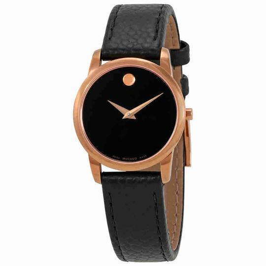 Movado Movado Museum Black Dial Black Leather Ladies Watch 0607061