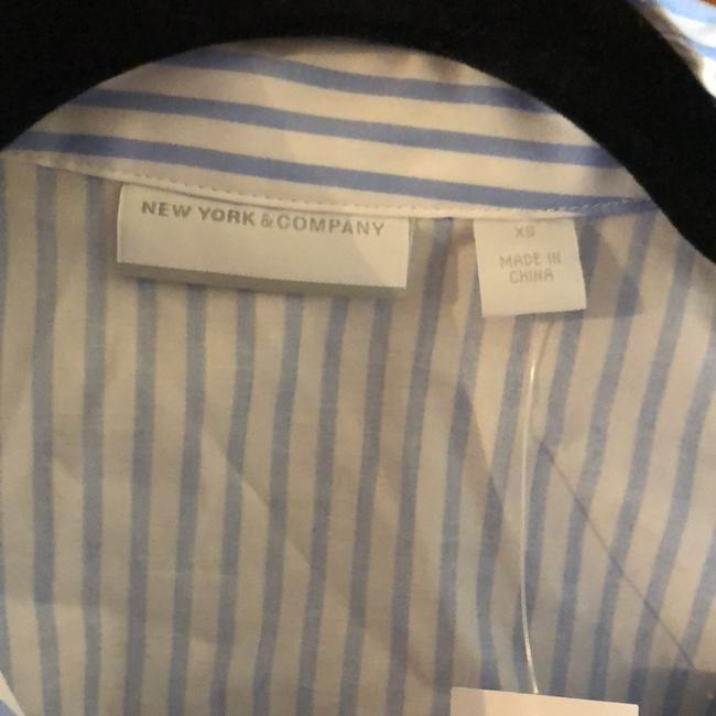 New York & Company Top White and Blue